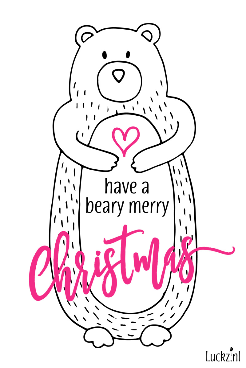 Have a beary merry christmas funny text, grappige kerstkaart