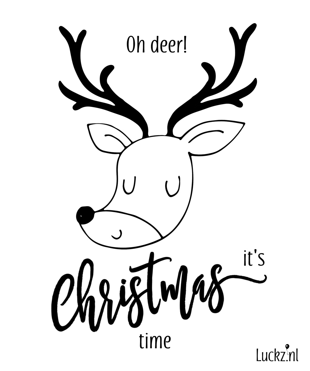 Oh deer it's christmas time, funny christmas card, grappige kerstkaart