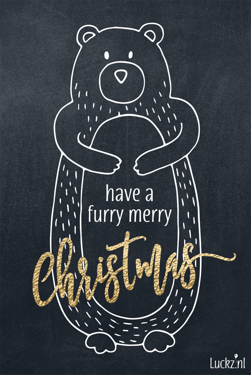 Have a furry merry christmas, grappige kerstkaart met een leuke originele kerstwens, funny christmas card bear